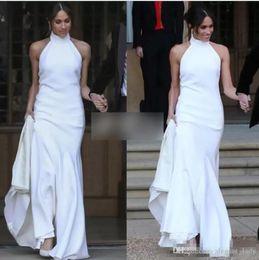 Chinese  Elegant White Mermaid Wedding Dresses 2018 Prince Harry Meghan Markle Wedding party Gowns Halter Soft Satin Wedding Receipt Dress BC0160 manufacturers