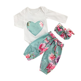 cute baby clothes wholesale UK - 3PCS Set Cute Baby Girls Clothes Romper Spring Autumn Toddler Kids Heart Embroidery Tops+ Floral Pant Outfits Children Girl Clothing Set
