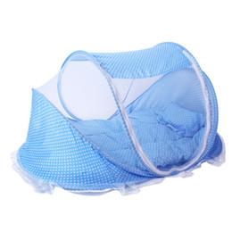 Лучшее предложение лето складной ребенок детская кровать навес москитная сетка с хлопка мягкий матрас подушка палатка для 0-2 лет ребенок дети