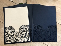 $enCountryForm.capitalKeyWord NZ - Linen Dark Navy Blue Laser Cut Wedding Invitations Cards,Pocket Wedding Invitation,Rose invitation Cards,Sweet sixteen invitation