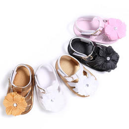 Brown Toddler Sandals Australia - Summer Lovely Sweet Baby Girls Princess Style Cute Flower Crib Bebe Infant Toddler Soft Soled Shoes Sandal 5Colors