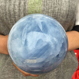 blue healing crystals Australia - Natural magic blue calcite Sphere quartz crystal ball Healing