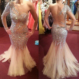 online shopping Shining Beaded One Shoulder Prom Dresses Soft Tulle Mermaid Evening Gowns With One Long Sleeve Champagne Cocktail Formal Party Dress