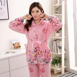 $enCountryForm.capitalKeyWord Canada - Plus Size 3XL 4XL Women Comfortable Warm Flannel Pajama Set Flower Print Pyjama Set Long Sleeve Sleepwear Set Mother NightshirtS1017