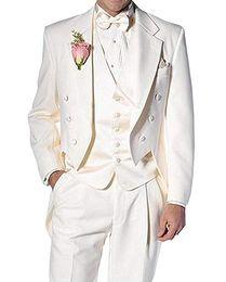 Solovedress Slim Fit Men Suit Modern 3 Piece Custom Made Groom Tuxedos Jacket Tux Vest & Trousers Set Wedding Suits