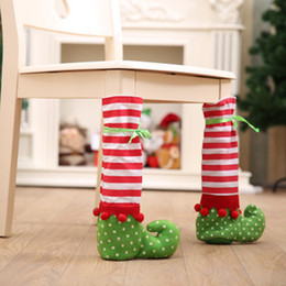 Discount table feet covers - Christmas Home Decorations Restaurant Tables & Chair Feet Cover Christmas Wine Bottle Bag Christmas Chair Corner Cover