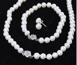 cultured pearl jewelry set Canada - NEW 9-10mm White Freshwater Cultured Pearl Bracelet Necklace Earrings Jewelry Set