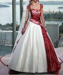 Strapless Satin Short Wedding Dresses Australia - Dark Red and White Wedding Dress Sheer Lace Cap Sleeve Satin Ball Gown Bride Dresses Backless with Long Veil