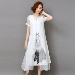 277aba275a 2018 Summer Short Sleeve Women Dress Chinese Style Elegant Ink Print Retro Cotton  Linen Split Designs Casual Loose Dresses