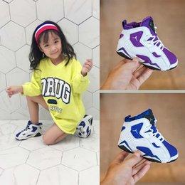 Wholesale KIDS Purple Basketball Shoes lace up Children Tennis brand Basketball Sport Shoes Outdoor Athletic Sneaker shoe Eur