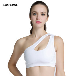 43de284ee5687 LASPERAL 2017 Women Sports Bra Sexy Solid One Shoulder Padded Fitness Gym  Workout Running Top Athletic Underwear Yoga Tank Tops