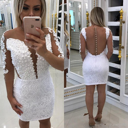 Sexy Little Gowns Australia - 2017 Sexy Little White Sheath Cocktail Dresses Sheer Neck Lace Appliques Beading Illusion Back Short Mini Homecoming Dress Party Gowns
