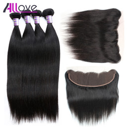 Cheap weave frontal online shopping - 8A Brazilian Straight Hair With Frontal Closure Cheap Peruvian Virgin Hair Indian Straight Ear To Ear Lace Frontal