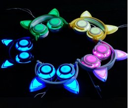Yellow Gaming Laptop Australia - Cat Ear Headphones Foldable Flashing Glowing Cosply Headsets Gaming Headband Earphone with LED Light For Cell Phone PC Laptop Computer Pad