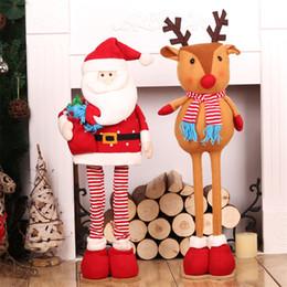 Christmas Ornament Stands NZ - Christmas Dolls Xmas Tree Ornament Natal Santa Claus Elk Big Dolls Retractable Standing Toys Decoracion De Navidad 2 Pieces
