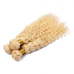 Nieuwe aankomst blonde menselijk haarbundels # 613 platina blonde diepe golf krullend haarverlenging Braziliaanse maagd onbenullige haar weeft 3pcs / lot