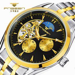 Round Clock Men Canada - 2018 Top Brand Luxury Business Men Watches Skeleton Mechanical Watch for Male Clock Moon Star Auto Saats Hodinky Horloges Mannen