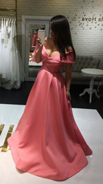 modern evening dresses sleeves Australia - Elegant Coral A line Evening Dress Plus size Cheap Prom Dresses V neck Off the shoulder With Sleeves 2018 New Long Formal Pageant Gowns