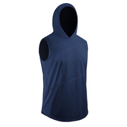 China Men Tight-fitting Sleeveless Running Vest Sport Running Training Fitness Clothing Zip Hooded Quick-Drying Jacket with Cap cheap xxxl wholesale clothing suppliers