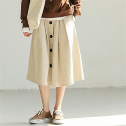 Wholesale Women s Skirts Korean Kawaii Ulzzang High Waist Single Breasted Pockets A line Skirt Female Japan Harajuku Button For Women