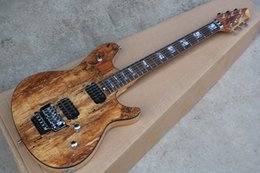 Discount abalone inlays for guitars - Brown Electric Guitar with Map pattern Veneer,Abalone Frets Inlay,H-H Pickups,Chrome Hardwares,offer customized as you r