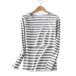 striped shirts for women 2018 - Cotton Nurisng Maternity Top Tee Striped Feeding T-shirt Clothes For Pregnant Women Long Sleeve Pregnancy Breastfeeding
