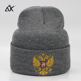 $enCountryForm.capitalKeyWord Canada - ADK Men Hat With Russian National Emblem Embroidery Beanie Leisure Outdoor Fashion Acrylic Knitted Hat For Girls
