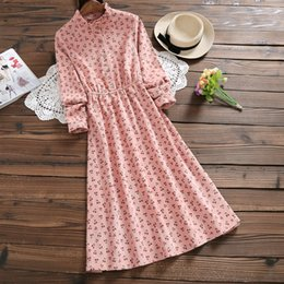 pink corduroy dress 2019 - Japanese Mori Girl Vintage Dress 2018 New Autumn Winter Women Long Sleeved Cherry Print Corduroy Dresses cheap pink cord