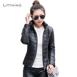 $enCountryForm.capitalKeyWord NZ - LITTHING Women Stand Collar Cotton Down Jacket 2018 Winter Female Ultra Light Parkas Slim Long Sleeve Parkas Candy Color Fashion