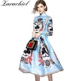 China New 2018 Designer Runway 2 Piece Set Women's Vintage Baroque Poker Print Long Sleeve Blouse Shirt+Ball Gown Long Skirt Suit Set cheap single balls suppliers
