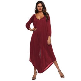 764073d927a New Autumn Women V-neck Chiffon Jumpsuits Elegant Ladies 3 Colors Rompers  Sexy Backless Wide Leg Jumpsuits