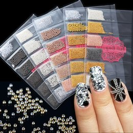 Nails Beads Canada - 1 Pack Nail Art Mini Caviar Metal Beads Studs Rose Gold Gold Silver Grey 3D Glitter Mixed Size Charm Manicure Decoration JI705