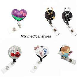 Wholesale Mixed Medical Styles Nurse Rhinestone Retractable Pull Reel ID Badge Name Holder