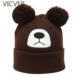 Wholesale Kids Knitted Beanies UK - Winter Baby Girls Pom Pom Hat Kids Bear Ear Beanie Knit Cap Boys Skullies Knitted Hats Cute Children Crochet Woolen Warm Caps
