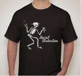 3b28d81d SOCIAL DISTORTION Smoking Drinking Skeleton Thrash Punk Rock Band T Shirt  Men T-Shirt Men Clothing Plus Size Black Style
