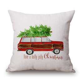China Car Driving Cushion Cover Family Present Pillow Cover Thin Linen Pillow Cases Forest Deer 45X45cm Merry Christmas Bedroom Sofa Decoration cheap chocolate bedroom suppliers