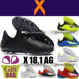 low priced 749ad c8bf6 New Top Men Original X 18.1 AG Botas de fútbol Azul   Amarillo   Negro    Rojo Zapatos de fútbol de cuero al aire libre Botas Zapatillas de fútbol Zapatos  de ...