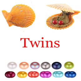 silver oyster shell Australia - 2018 Akoya Red shell Oyster Pearl 6-7MM Twins Pearl in Oysters Akoya Oyster Shell with Colouful Pearls Jewelry By Vacuum Packed Wholesale