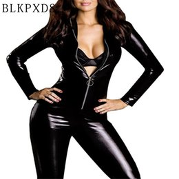 $enCountryForm.capitalKeyWord NZ - Halloween Women Hot Black Long Sleeve Thin Faux Leather Metal Zipper Jumpsuit Sexy Jumpsuits Clubwear Bodysuit