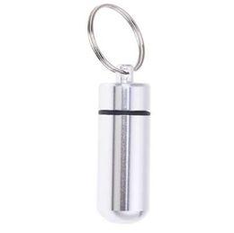 Gümüş Hap Tıp Kutusu Kasa Tutucu Konteyner Kapsül Şişe Anahtarlık Anahtarlık