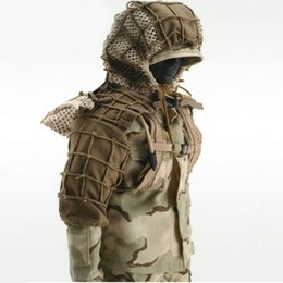 Discount camouflage combat suit - CS Wargame Sniper Camouflage Combat Tactical Ghillie Suit Foundation Outdoor Shooting Hunting DIY Ghillie Jacket Set Wit