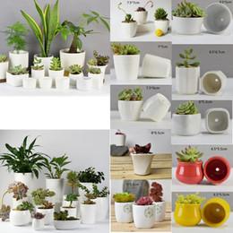 10 Styles Ceramic Succulent Plant Pots Hexagon Decorative Flowerpot Desktop  Flower Pot Bonsai Planter Garden Decoration GGA463 150PCS