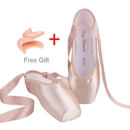 4211278c Zapatos profesionales de ballet Pointe Zapatos de ballet rosa satinado con  almohadilla para los pies