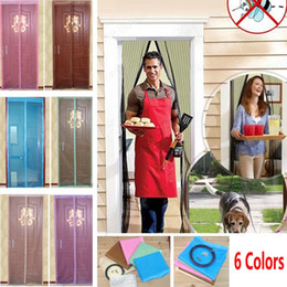 Wholesale 6 Colors Magnetic Door Mosquito Net Curtain Mesh Screen Windows Insect Fly Bug Gauze Mosquito cm And cm WX9