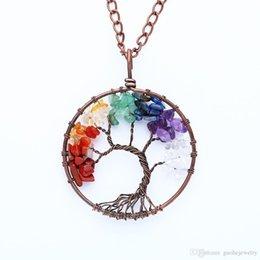 Tree Life Alloy Pendant Australia - Hot selling mens necklace life tree alloy pendant necklace Natural crystal gravel necklace