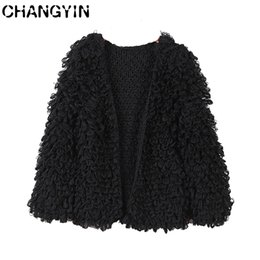 Wholesale black cardigan sweaters for women resale online - CHANGYIN Black Cardigan Sweater For Women Round Collar Long Sleeve Fashion Solid color Knitted Open Front Cardigan Coat