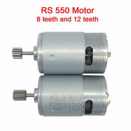 gears for dc motors NZ - Dc motor 12v for children electric car,rc car dc engine 6v, baby car electric engine, rs550 motor with 12 teeth and 8 teeth gear