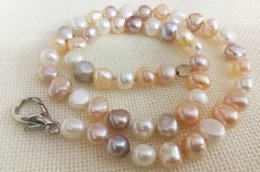 pink freshwater cultured pearl necklace 2018 - Women Jewelry 43cm 17'' necklace 9x10mm bright white pink purple mixed pearl handmade Real cultured freshwater pearl gif
