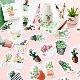Wholesale 45pcs Green Plant Cactus Sign Stickers Cute Label Stickers Scrapbooking Vinyl Removable DIY album Decals
