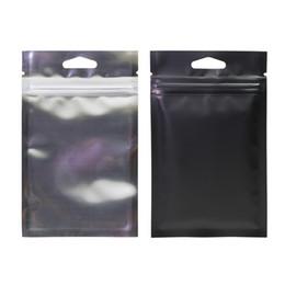 $enCountryForm.capitalKeyWord Australia - 100pcs Multi Size Heat Sealing Zipper Top Package Bag, Hang holes Clear Front Black Aluminum Foil Mylar Zip Lock Bags